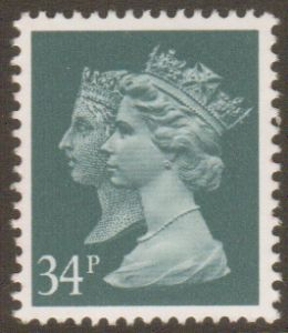 SG1473 34p Phosphorised Paper Double Head Machin Stamp Harrison Print